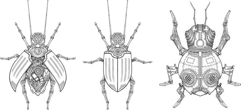 Vector drawings of mechanical beetles