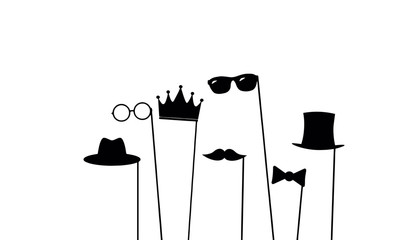 Glasses crown mustaches vector design