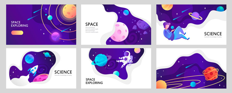 Set of web banners templates. Presentation. Space explore. Children cartoon vector illustration. Science. Horizontal banners. EPS 10