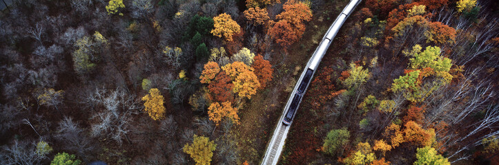 Train Traveling Through New England