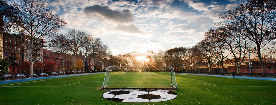 Soccer Field With Large Ball Painted On It
