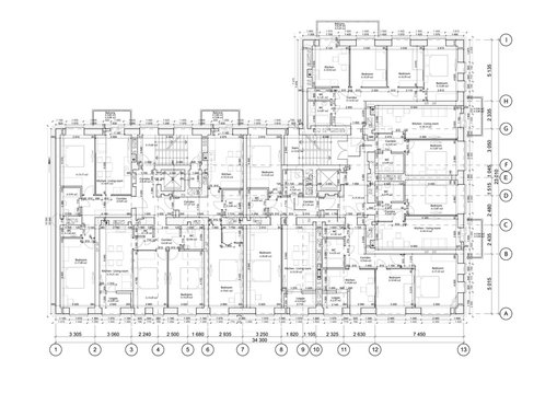Detailed architectural floor plan, appartment layout, blueprint. Vector illustration