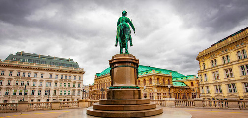 Foto op Canvas Wenen Vienna State Opera and Franz Joseph monument, view from Albertina museum, Austria