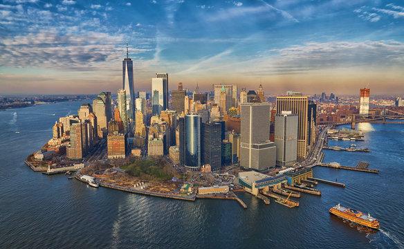 Aerial of Manhattan financial district skyscrapers skyline