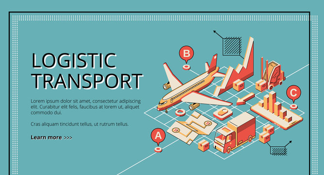 Business logistic transport isometric vector web banner, landing page. Cargo plane, truck transporting goods, forklift loading box, map with destination, infographics on smartphone screen illustration