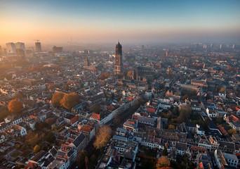 Aerial of Utrecht city center Wall mural