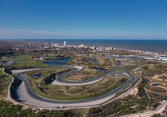 Aerial view race track circuit of Zandvoort