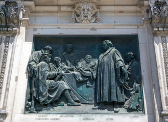 Berlin, Germany - July 01, 2018: Bas-relief on the building of Berlin Cathedral