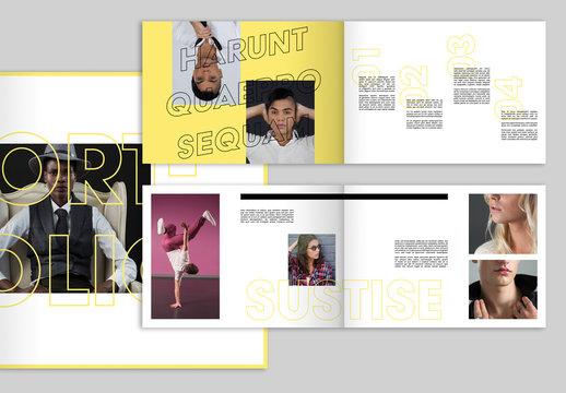 Yellow Portfolio Layout with Bold Typographic Elements