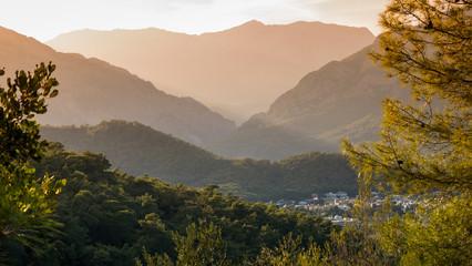 Tuinposter Bergen View of mountains in Kemer, Turkey