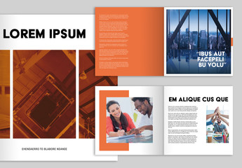 Square Brochure Layout with Orange Accents
