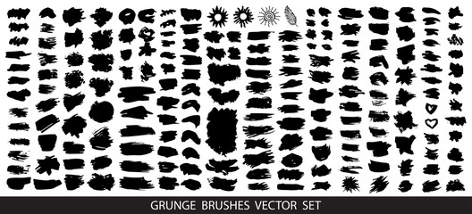 Big collection of black paint, ink brush strokes, brushes, lines, grungy.  Dirty artistic design elements, boxes, frames for text. Vector illustration.