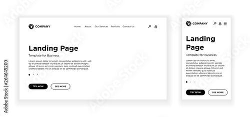 Landing page blank template desktop PC and mobile adaptive version
