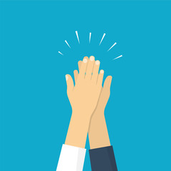 Two hands giving a high five, illustration of friendship. Vector illustration in flat style