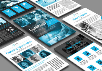 Digital Company Layout with Blue Accents