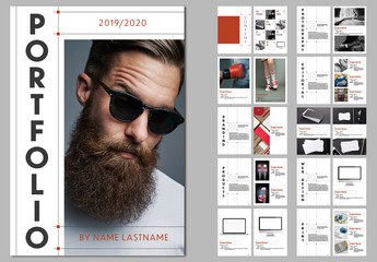 Portfolio Layout Design with Red Accents