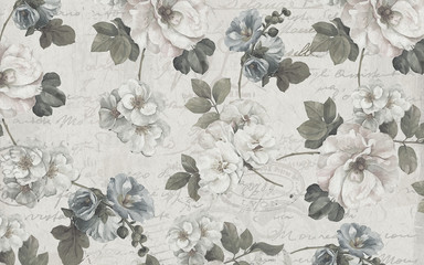Printed roller blinds Vintage Flowers 3d absract wallpaper design