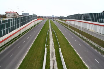 This is a view of Solidarnosci expressway in Lublin. April 16, 2019. Lublin, Poland.