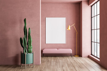 Pink living room with bench, plant and poster