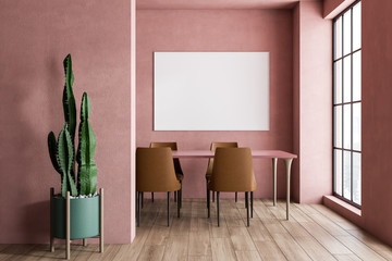 Pink dining room interior with poster