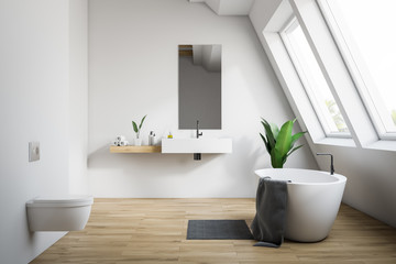 Attic white bathroom with toilet
