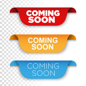 Banner Coming soon. Vector ribbon banner