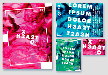 Poster Layout Set with Bright Liquid Backgrounds