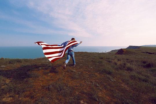 teen boy with american flag