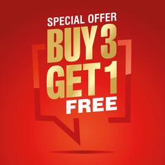 Buy 3 get 1 free in brackets speech gold white red sticker icon