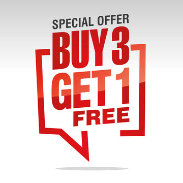 Buy 3 get 1 free in brackets speech red white isolated sticker icon