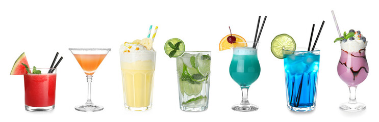In de dag Alcohol Set of different delicious cocktails on white background