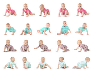 Set of cute little babies crawling on white background