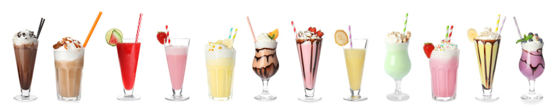 Set of different delicious cocktails on white background