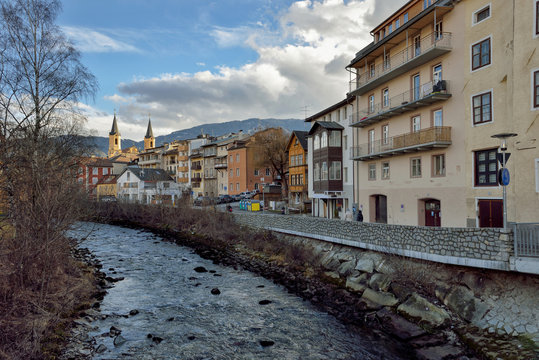 BRUNICO, ITALY. View of square in the historic center of Brunico, Alto Adige, Italy