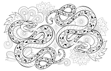 Drawing of couple eastern snakes. Black and white page for coloring book. Printable pattern for modern print, t-shirt, embroidery, Henna, Mehndi, tattoo and decoration. Hand-drawn vector image.