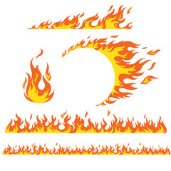 Papiers peints Cartoon voitures Set of flame elements on a white background, fire. Horizontal pattern of fire, fire around the wheel.