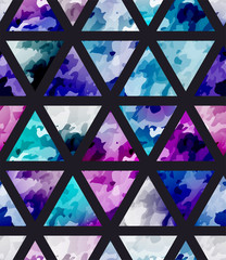 Seamless purple watercolor pattern with triangle. Bright cosmos mosaic background