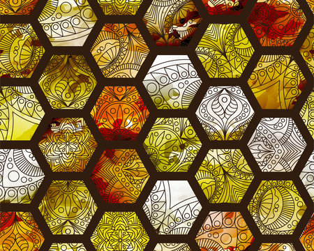 Seamless orange watercolor pattern with hexagons. Indian pattern, oriental pattern