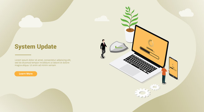 isometric 3d system update security patch concept with laptop and smartphone for website template banner landing homepage - vector