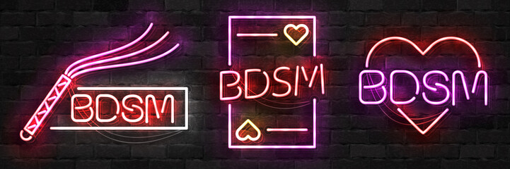 Vector set of realistic isolated neon sign of BDSM logo for template decoration and layout covering on the wall background. Wall mural