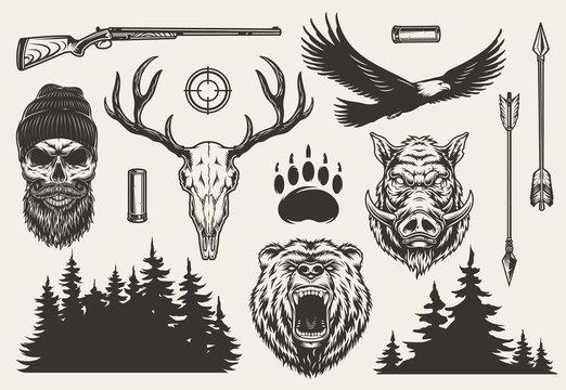 Vintage monochrome hunting elements set