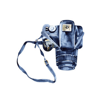 watercolor photo camera isolated on white background