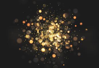 Christmas golden lights. Background of bright glow bokeh Fotoväggar
