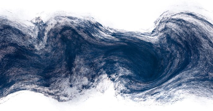 Abstract dry brush stroke paint dark blue color isolated on white background
