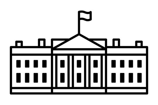 White House - The residence of the president of the United States of America line art vector icon for apps and websites