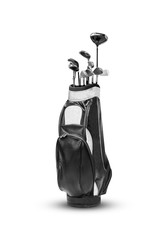 golf bag and accessories isolated on white background