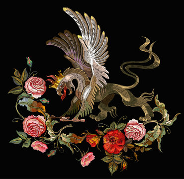 Embroidery griffin and red roses, pink peonies. Medieval art. Gothic template tapestry renaissance style. Template for clothes, t-shirt design
