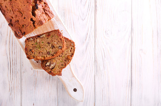 Zucchini loaf with nuts and raisin, sliced