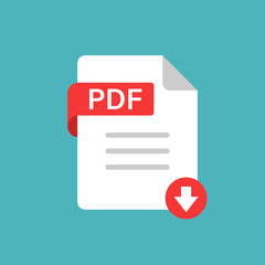 Pdf icon in flat style. Document text vector illustration on white isolated background. Archive business concept.
