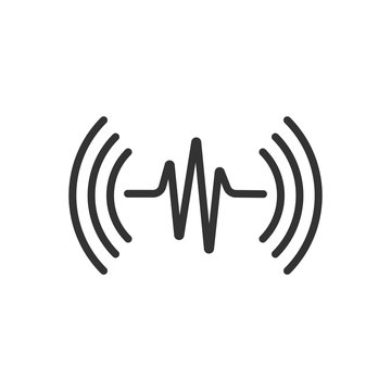 Sound wave icon in flat style. Heart beat vector illustration on white isolated background. Pulse rhythm business concept.